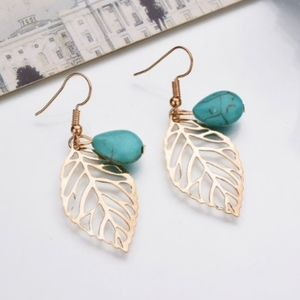 Gold Leaf Turquoise Bead Dangle Earrings